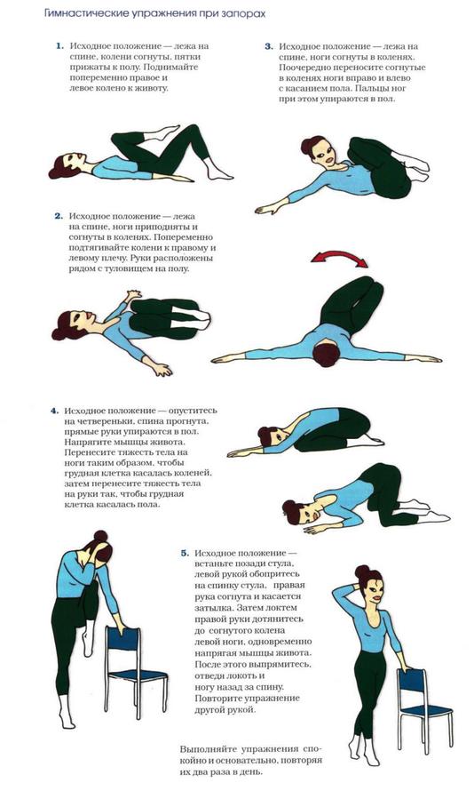 Лечебная гимнастика при запорах-продолжение