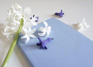 Гиацинт фото, блокнот и цветы фото, букет гиацинтов